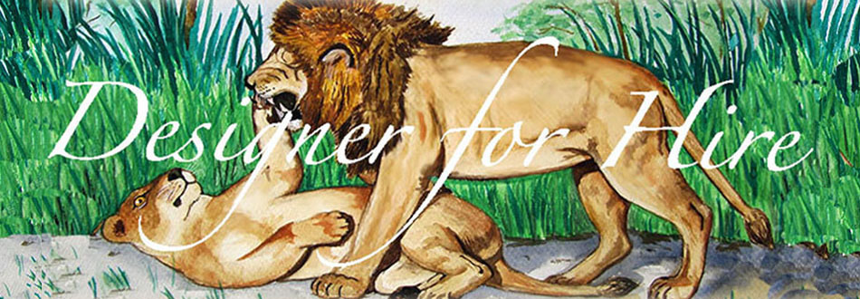 Designer for hire Lion watercolor banner